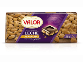 CHOCOLATE VALOR LECHE-ALMDR.250
