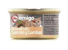 Comida de gato de mousse de salmon-gambas, 85 grs AMIGO